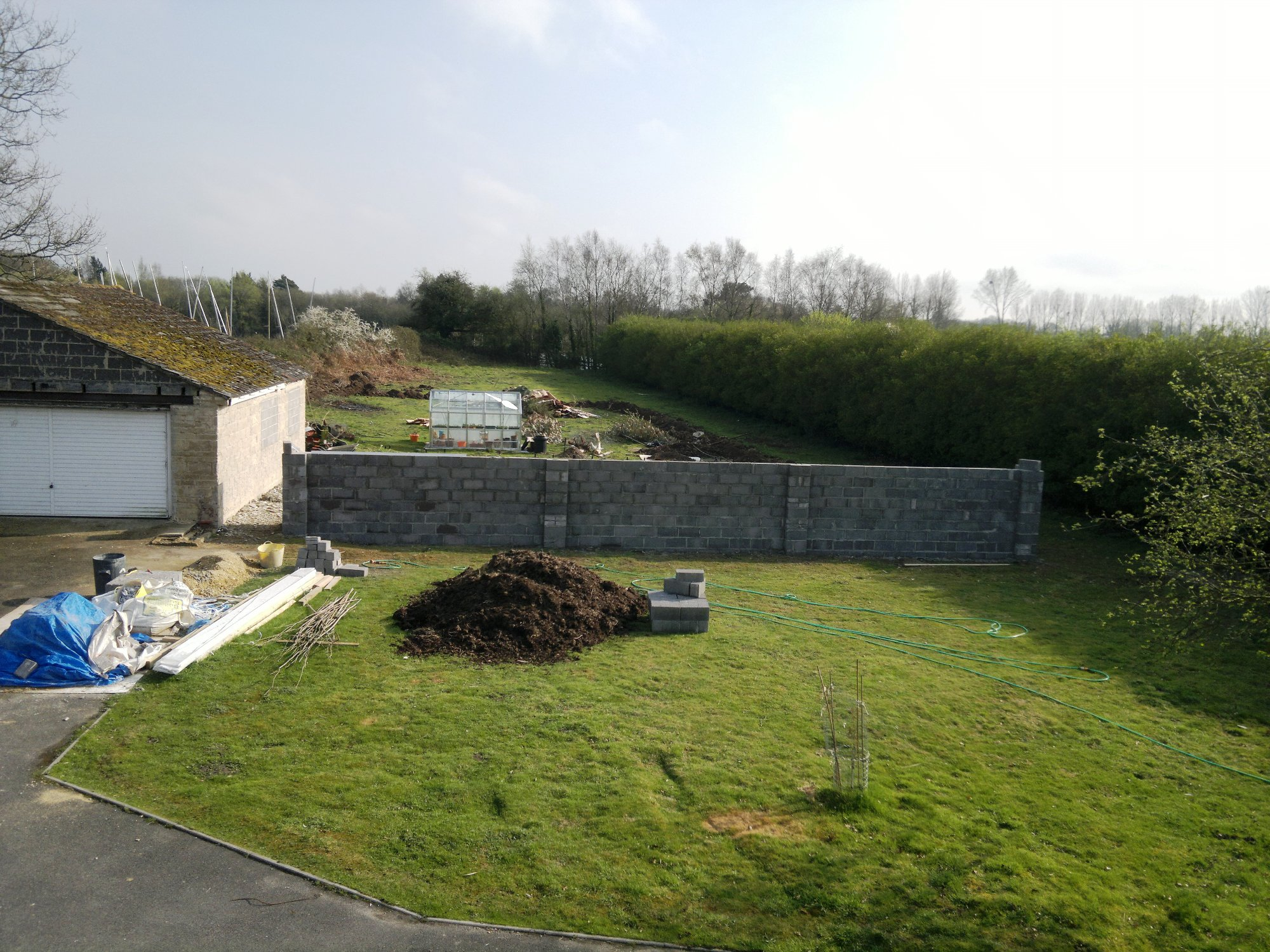 View of the finished wall; the four piers give extra strength