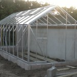 Glasshouse near completion; glazing and doors to be added after beds have been prepared