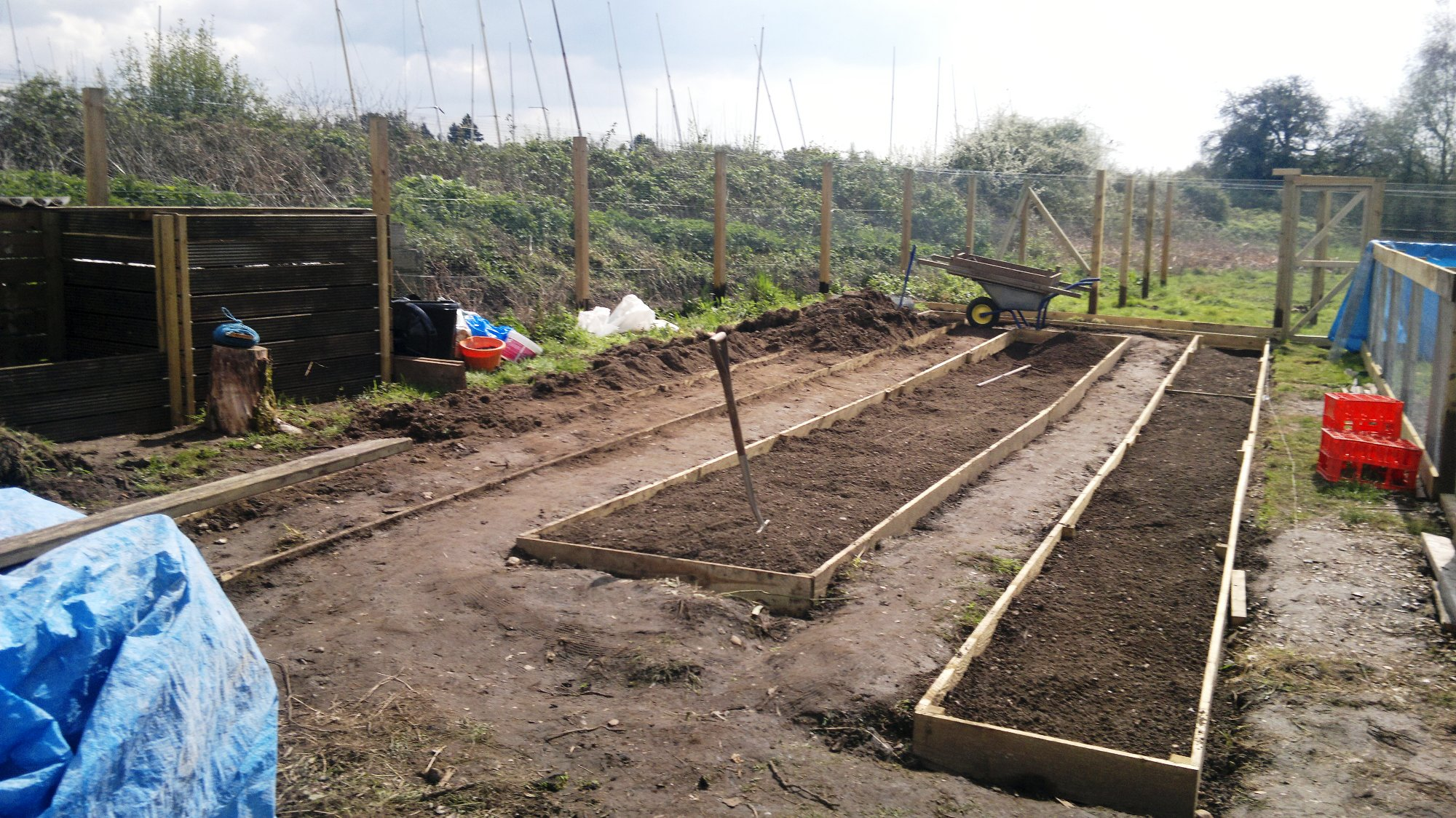 Partially prepared polytunnel beds