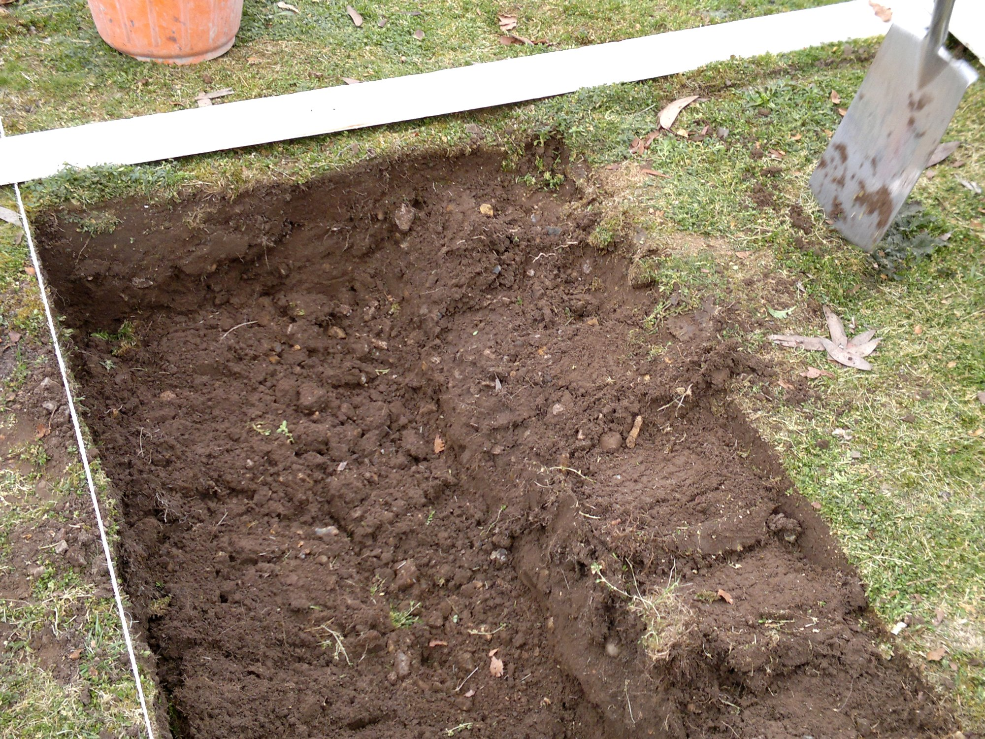 Trenching part 5: cutting the turf from the next row, placing upside down in the previous trench