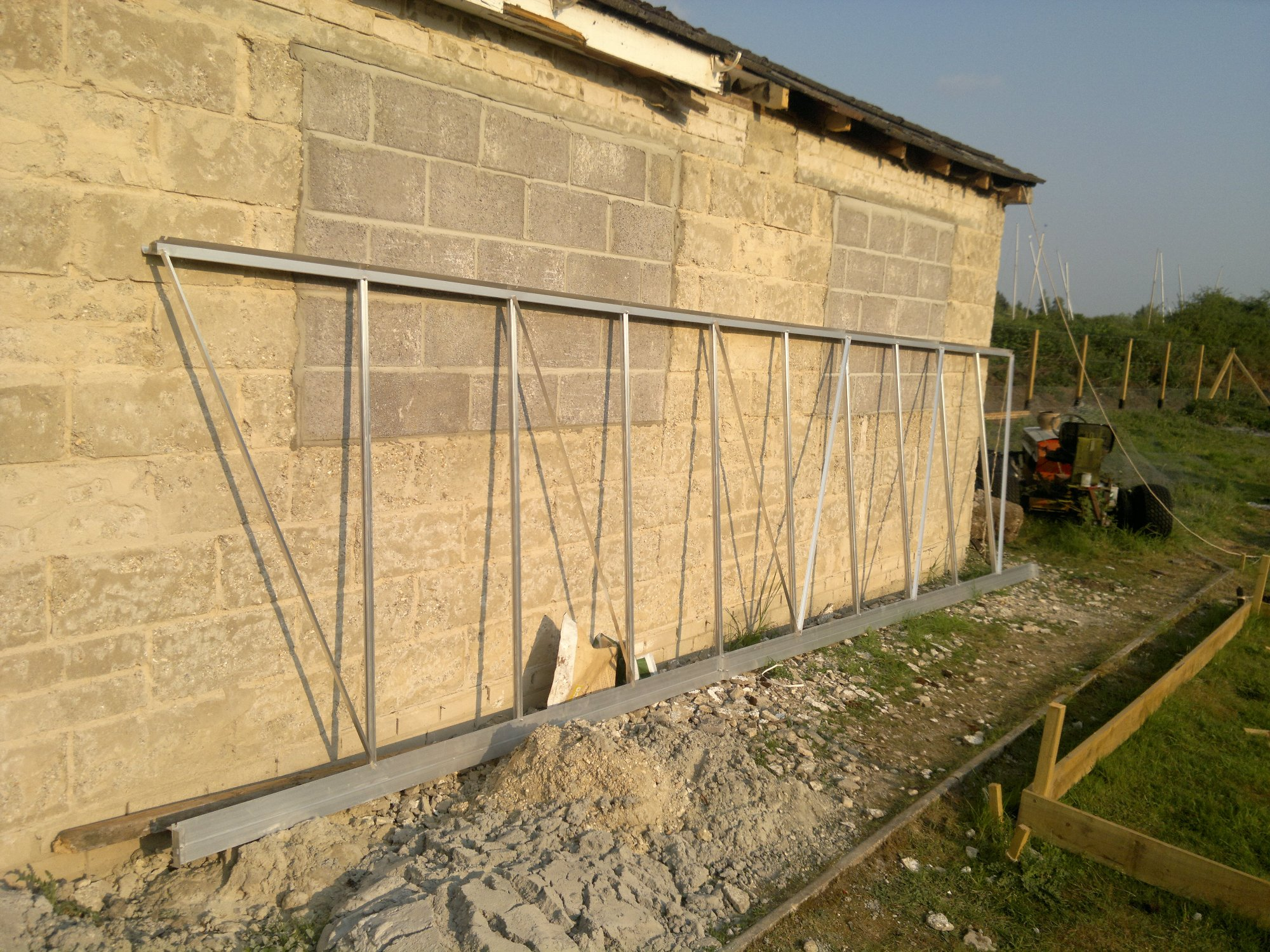 Front section of one of the main glasshouses ready for assembly
