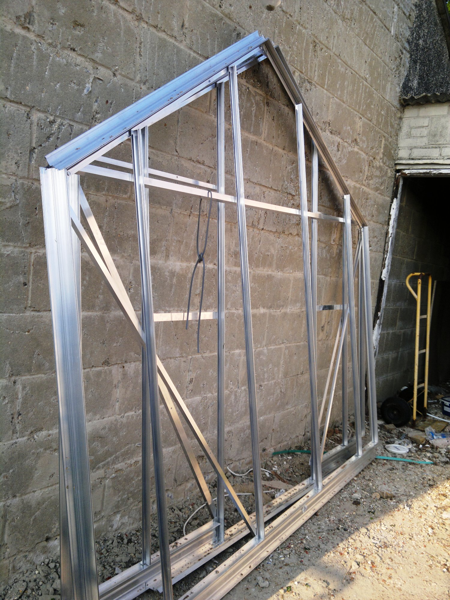 End sections of one of the main glasshouses ready for assembly