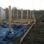 """Beds being laid out, constructed of 6"""" gravel boards and 2"""" posts"""