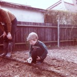 Sowing under Dad's watchful eye