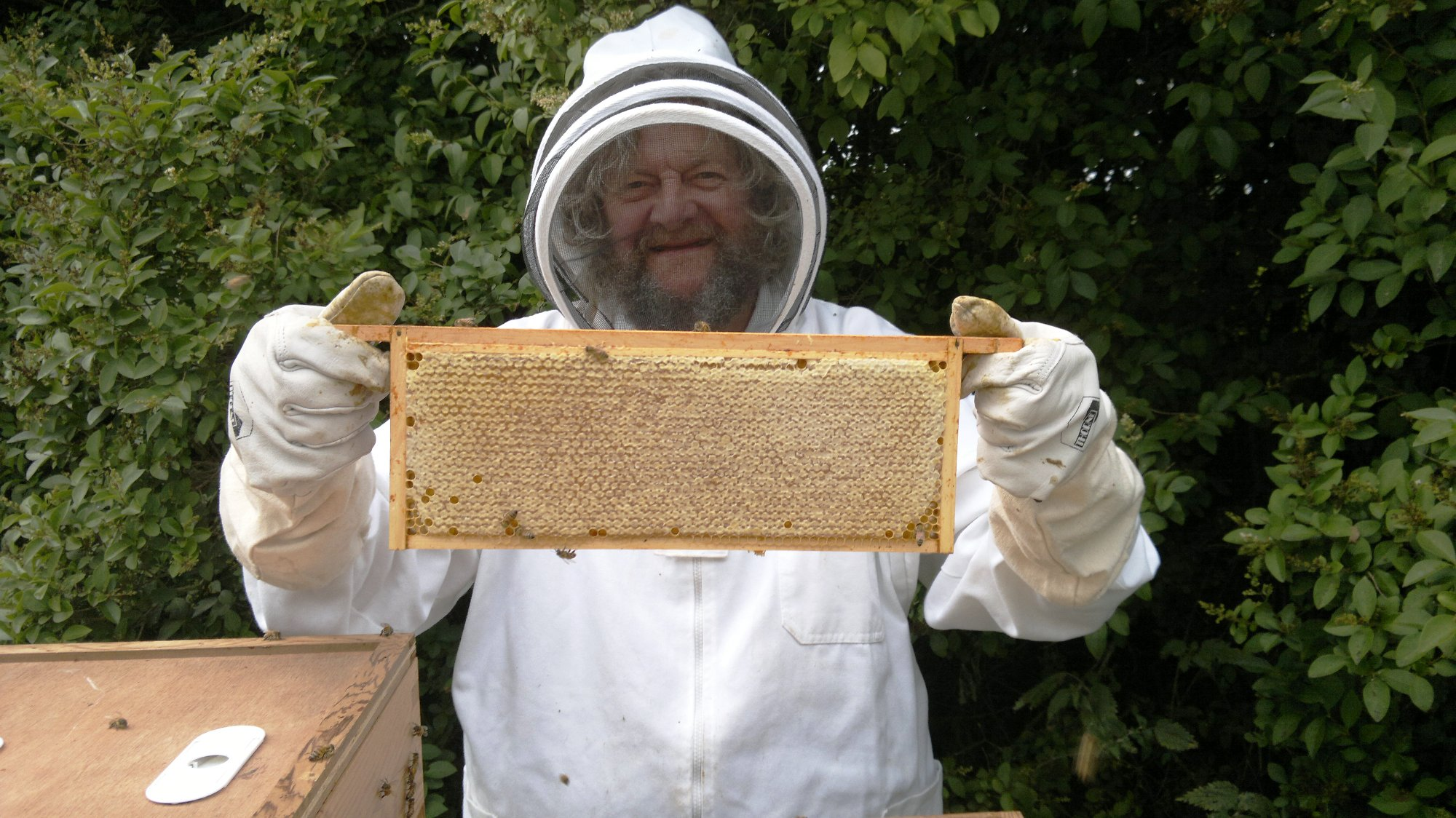 Dad looking very pleased with another full frame of honey