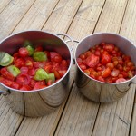 Two pans of chopped tomatoes ready to be simmered gently