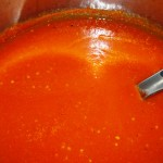 Tomato sauce, blended until smooth, and ready for the freezer