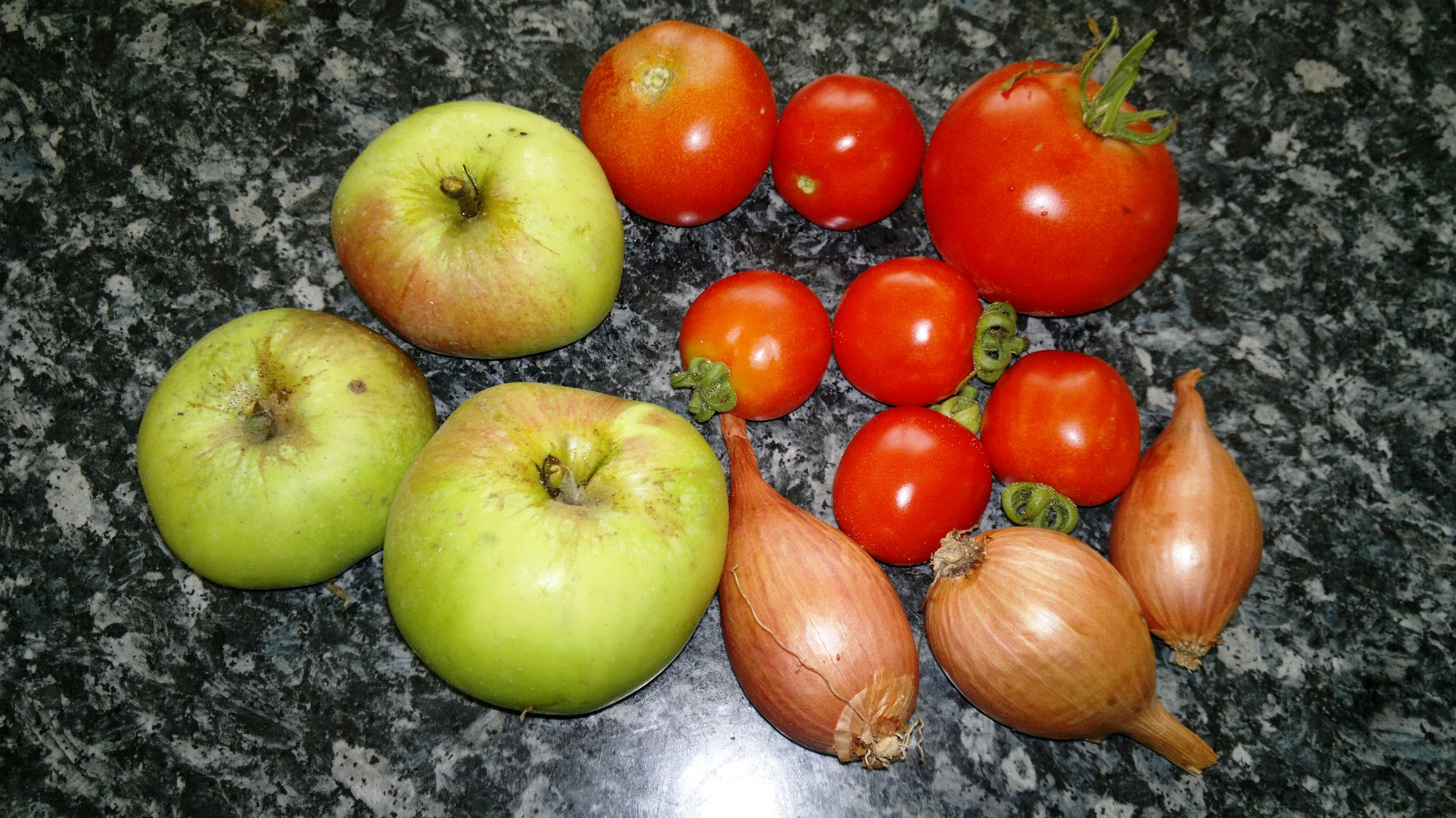 A fruity base for the sauce; Bramley apples, tomatoes, and shallots
