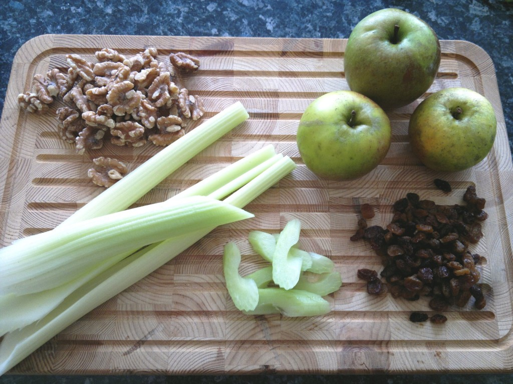 Ingredients for a Waldorf salad