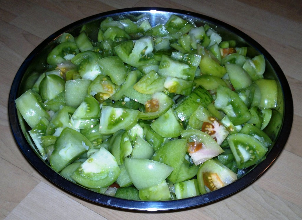 Green tomatoes chopped and ready for salting