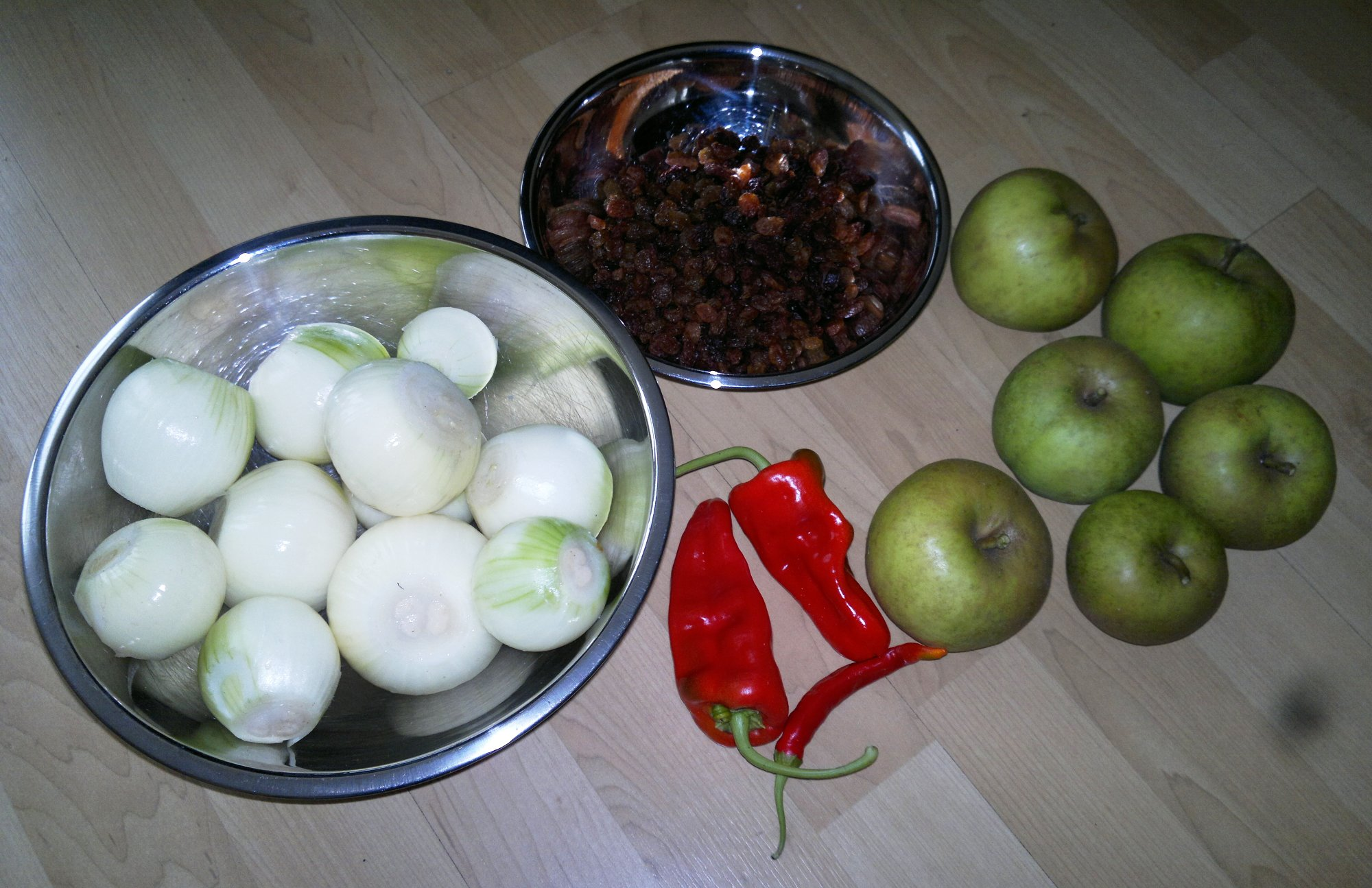 Other ingredients - apples, onions, sultanas, and red chillies