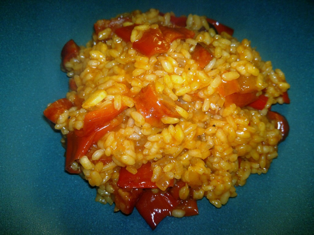 Chroizo and red pepper paella