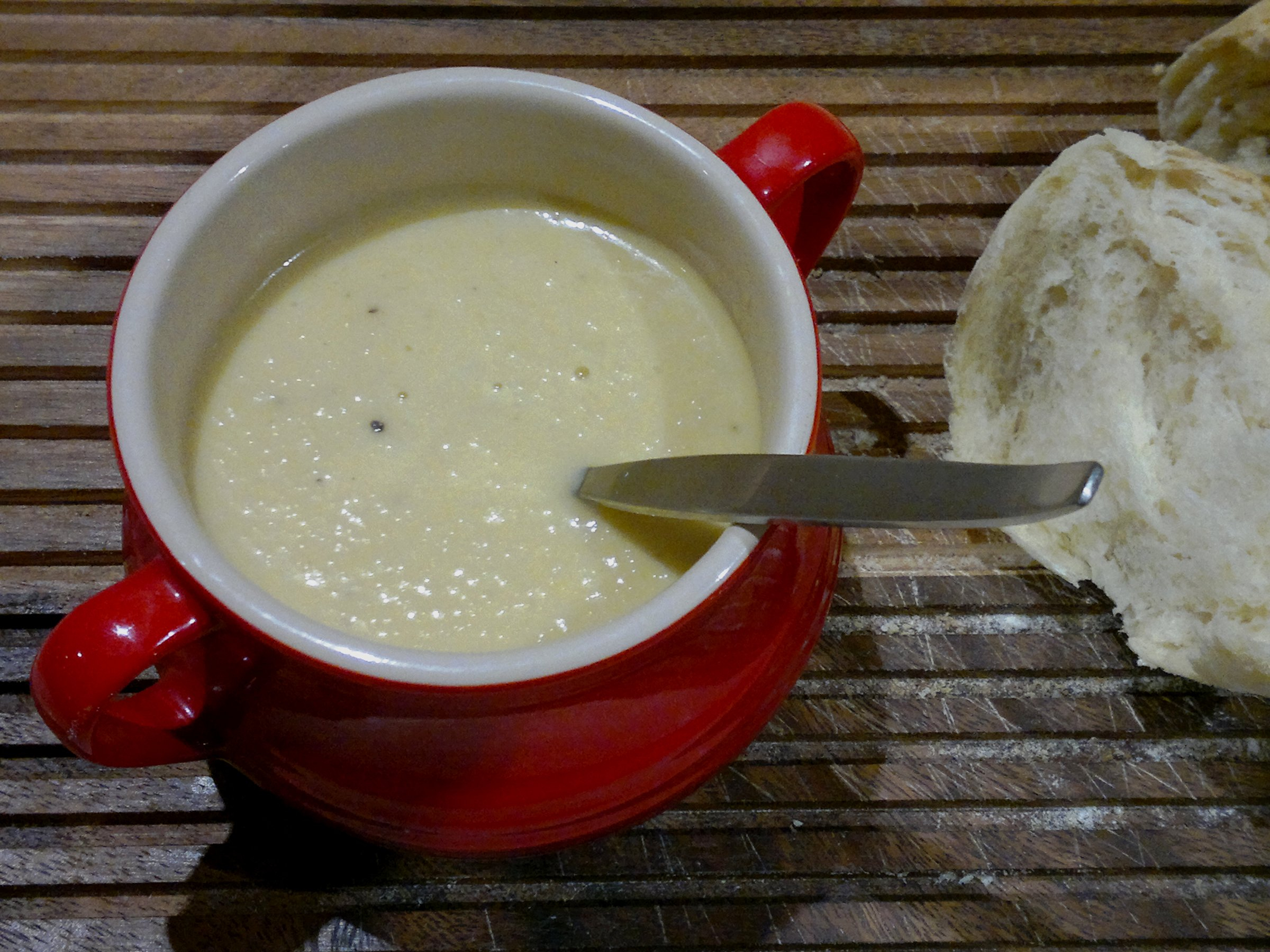 Leek and Jerusalem artichoke soup, served with homemade bread, fresh from the oven