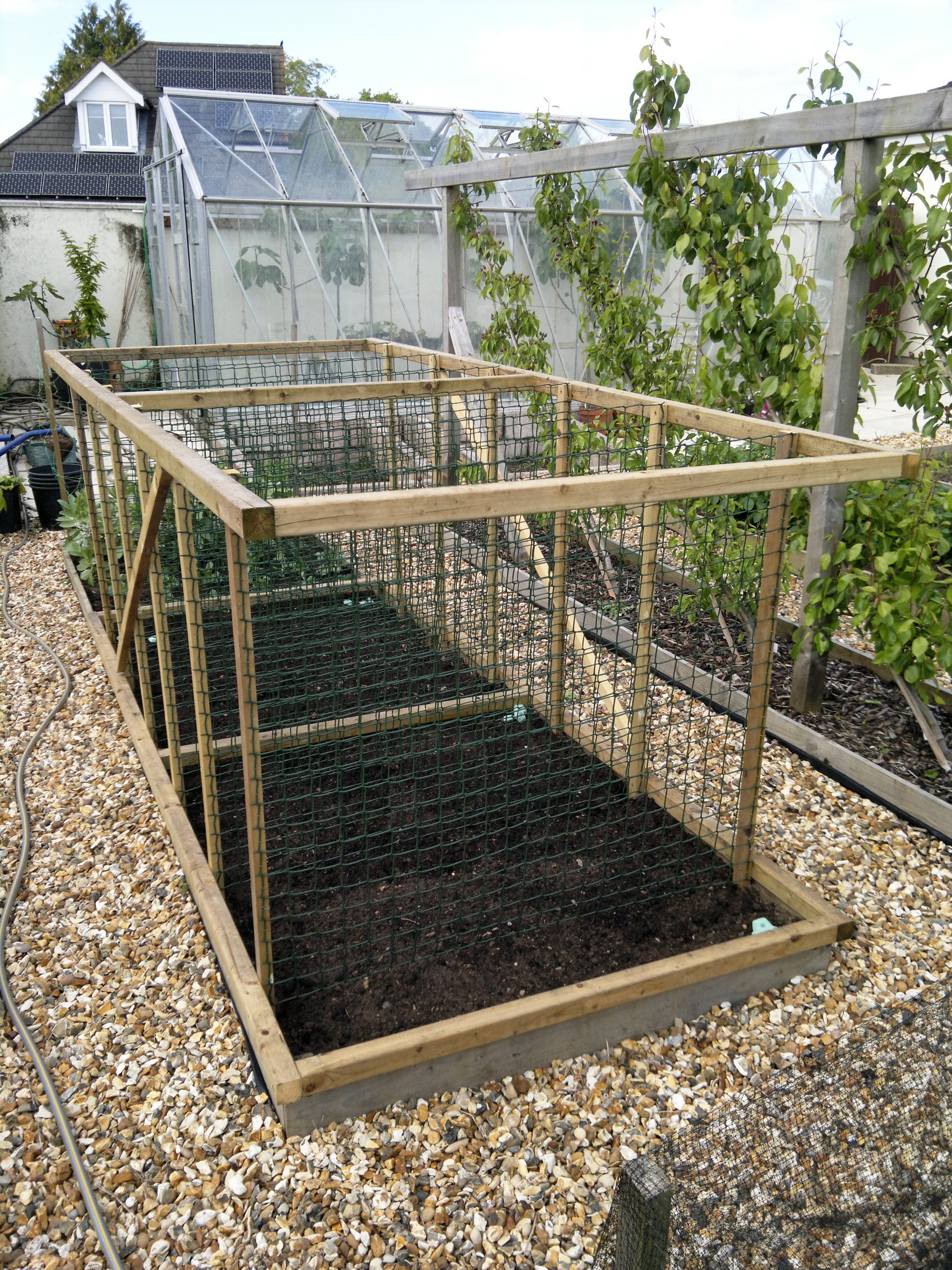The timber frame and stiff plastic mesh should provide good support for the peas