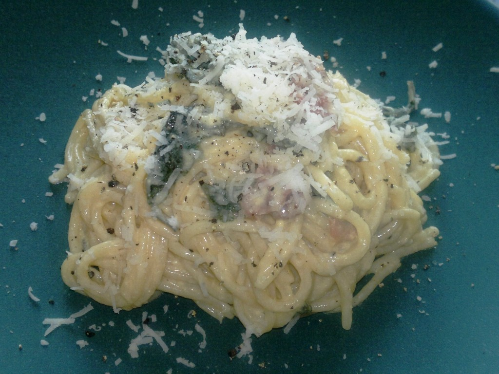 Spaghetti with mascarpone and sage sauce