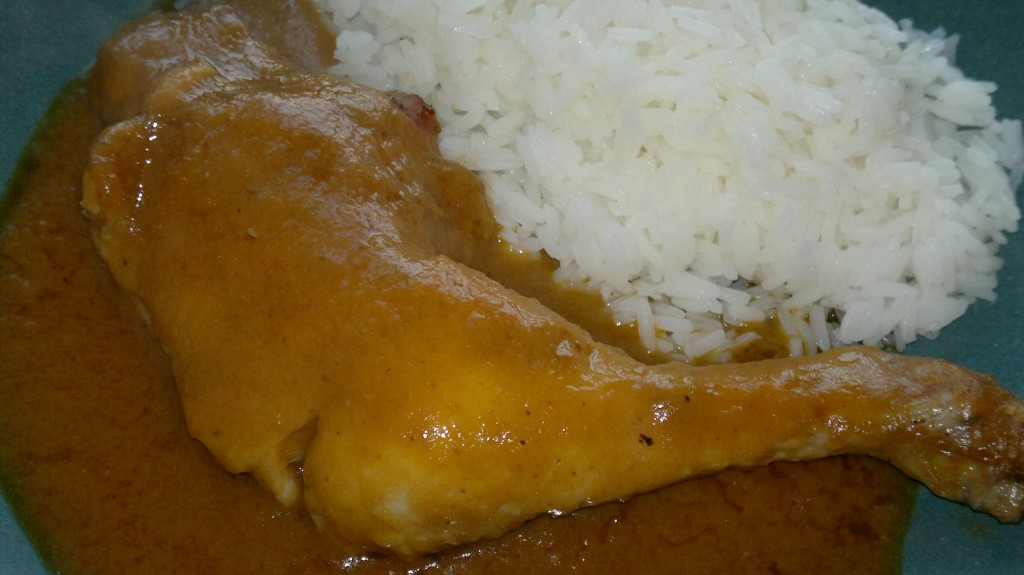 Roast chicken with tomatillo mole and rice