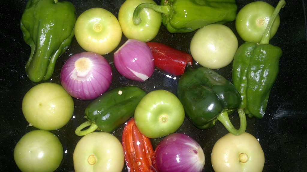 Simple ingredients for a tomatillo mole