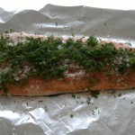 Gravad lax ready to be wrapped and refrigerated for 2 or 3 days