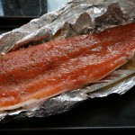Salmon fillet for cold smoking, after 36 hours of curing