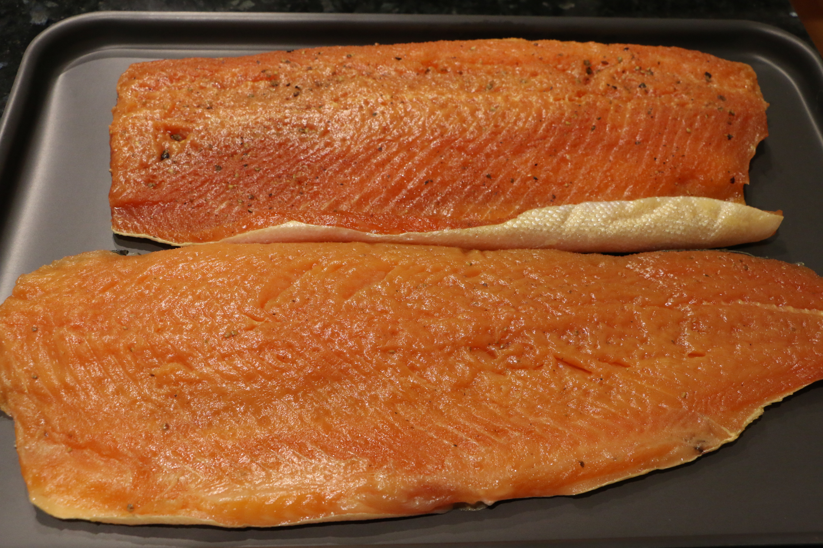 Cold smoked trout with juniper (top), and cold smoked salmon