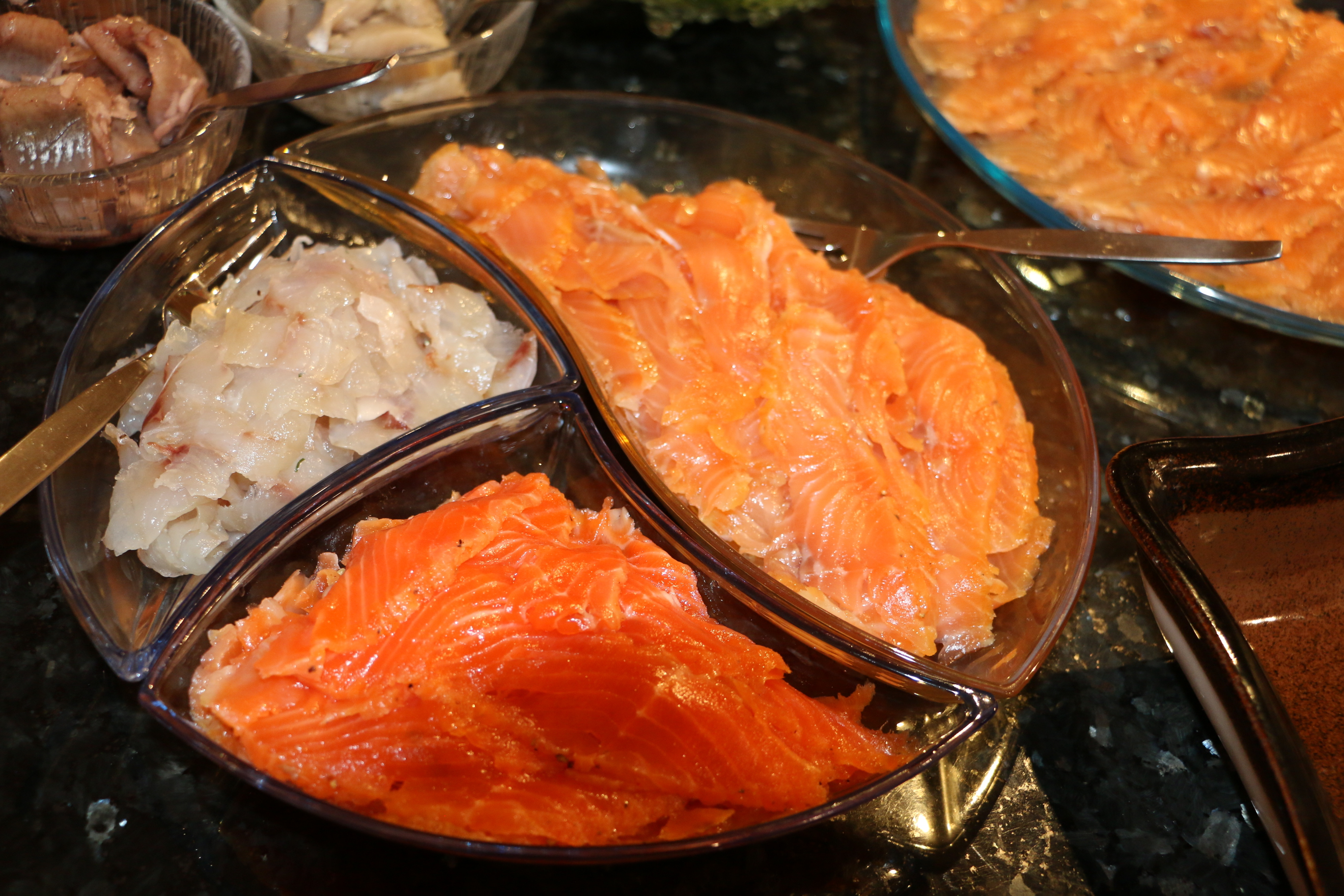 Gravad sea bass, cold smoked trout, and cold smoked salmon